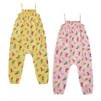 15C412: Girls Tropical All Over Print Shirring Playsuit (2-8 Years)