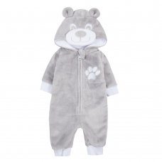 15C428: Baby Grey Teddy Plush Fleece All In One/ Onesie (NB-12 Months)