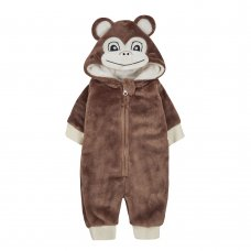 15C431: Baby Monkey Plush Fleece All In One/ Onesie (NB-12 Months)