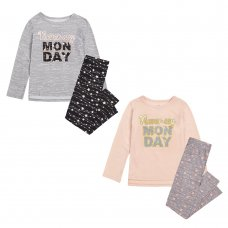 "15C475: Infant Girls ""Never Say Monday"" Pyjama (4-7 Years)"