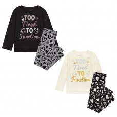 "15C479: Infant Girls ""Too Tired To Function"" Pyjama (4-7 Years)"