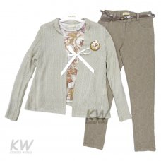 1602: Girls 3 Piece Knitted Cardigan Set (9-11 Years)