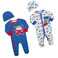 17C244: Premature Boys Cars Sleepsuit & Hat Set