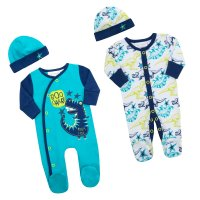 17C246: Premature Boys Dino Sleepsuit & Hat Set