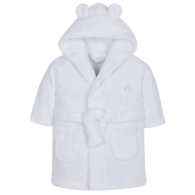 18C204: Baby White Hooded Dressing Gown (6-24 Months)