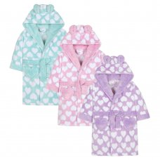 18C346: Infant Girls AOP Hearts Dressing Gown (2-6 Years)