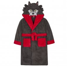18C429: Older Boys Novelty Wolf Snuggle Fleece Dressing Gown (7-13 Years)