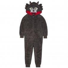 18C433: Older Boys Novelty Wolf Snuggle Fleece Onesie (7-13 Years)