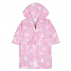 18C442: Infant Girls 3D Stars Print Dressing Gown (2-6 Years)