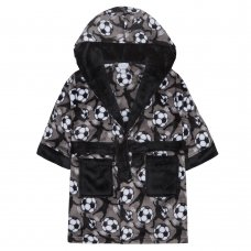 18C446: Infant Boys AOP Football Dressing Gown (2-6 Years)