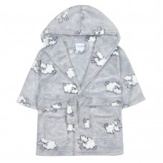 18C455: Baby Embossed All Over Print Lambs Hooded Dressing Gown (6-24 Months)