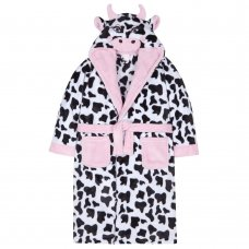 18C462: Older Girls Novelty Cow Dressing Gown (7-13 Years)