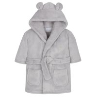 18C50906: Baby Silver Grey Hooded Dressing Gown (0-6 Months)