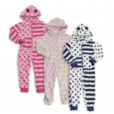 18C168: Infant Girls Spot/Stripe Fleece Onesie (2-6 Years)