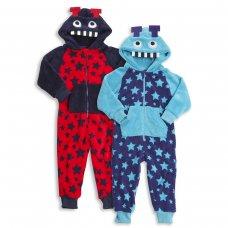 18C173: Infants Boys Monster Robot Fleece Onesie (2-6 Years)
