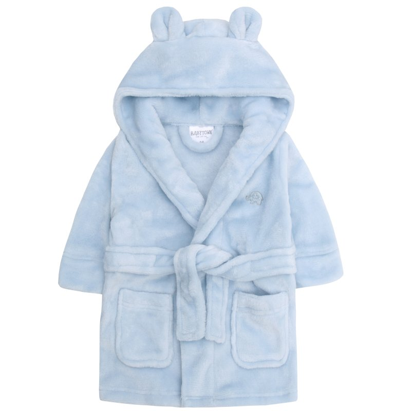 18C205: Baby Blue Hooded Dressing Gown (6-24 Months)