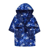 18C505: Infant Boys All Over Print Space Dressing Gown (2-6 Years)