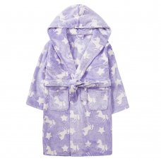 18C516: Older Girls Embossed All Over Print Unicorn Dressing Gown (7-13 Years)