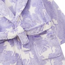 18C515: Infant Girls Embossed All Over Print Unicorn Dressing Gown (2-6 Years)
