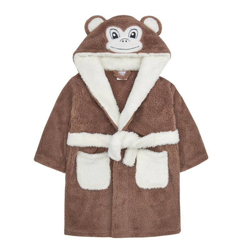 18C519: Infants Novelty Monkey Snuggle Fleece Dressing Gown (2-6 Years)