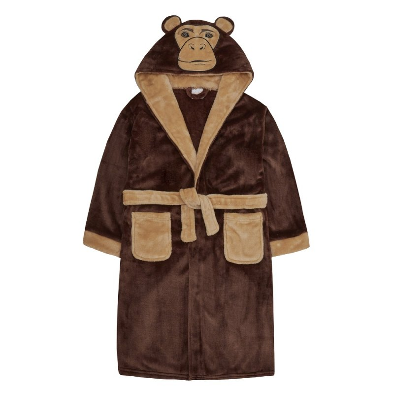 18C520: Older Kids Novelty Monkey Dressing Gown (7-13 Years)