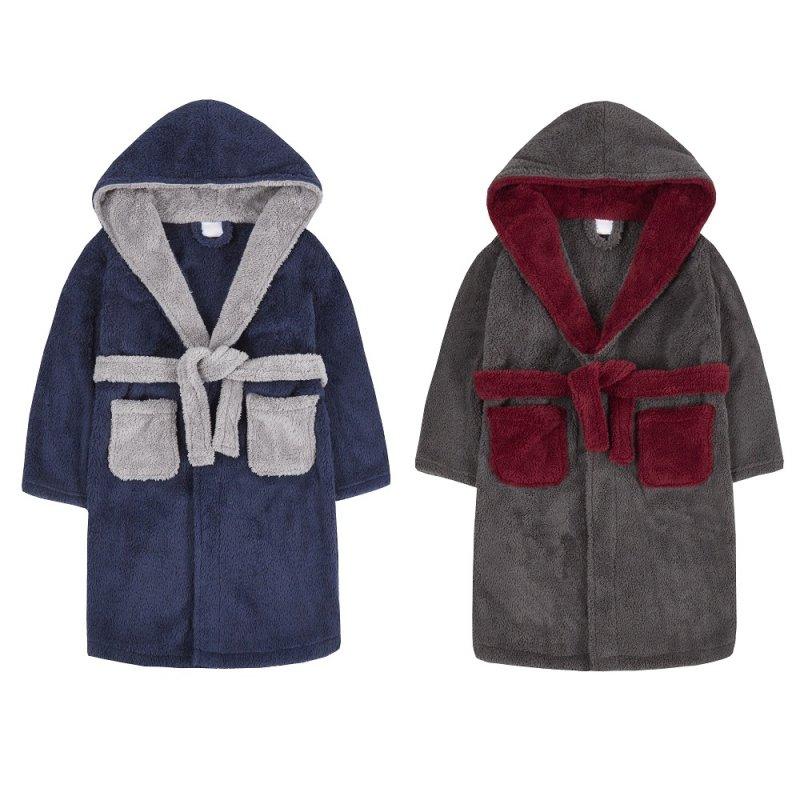 18C529: Older Boys Contrast Snuggle Fleece Dressing Gown (7-13 Years)