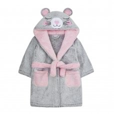 18C533: Infant Girls Novelty Mouse Snuggle Fleece Dressing Gown (2-6 Years)