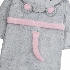 18C534: Older Girls Novelty Mouse Snuggle Fleece Dressing Gown (7-13 Years)