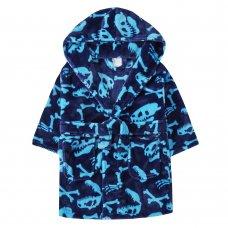 18C537: Infant Boys All Over Print Dinosaur Bones Dressing Gown (2-6 Years)