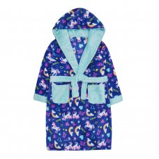 18C542: Older Girls Unicorn All Over Print Dressing Gown (7-13 Years)