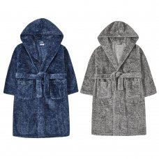 18C544: Older Boys Faux Marl Dressing Gown (7-13 Years)