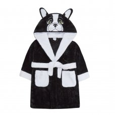 18C563: Infants Novelty French Bulldog Dressing Gown (2-6 Years)