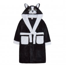 18C564: Older Kids Novelty French Bulldog Dressing Gown (7-13 Years)