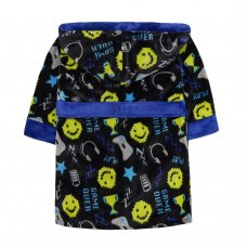 18C565: Infant Boys All Over Print Game Over Dressing Gown (2-6 Years)
