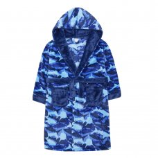 18C571: Older Boys All Over Print Sharks Dressing Gown (7-13 Years)