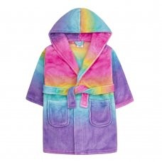 18C574: Infant Girls Rainbow Dressing Gown (2-6 Years)