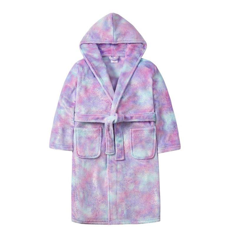 18C577: Older Girls Mystical Glitter Print Dressing Gown (7-13 Years)