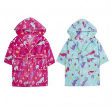 18C578: Infant Girls All Over Print Seahorse Dressing Gown (2-6 Years)