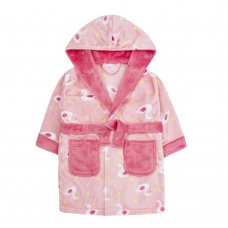 18C582: Infant Girls Swan All Over Print Dressing Gown (2-6 Years)