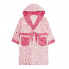 18C583: Older Girls Swan All Over Print Dressing Gown (7-13 Years)