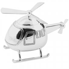 208L: Bambino Silver Plated Money Box - Helicopter