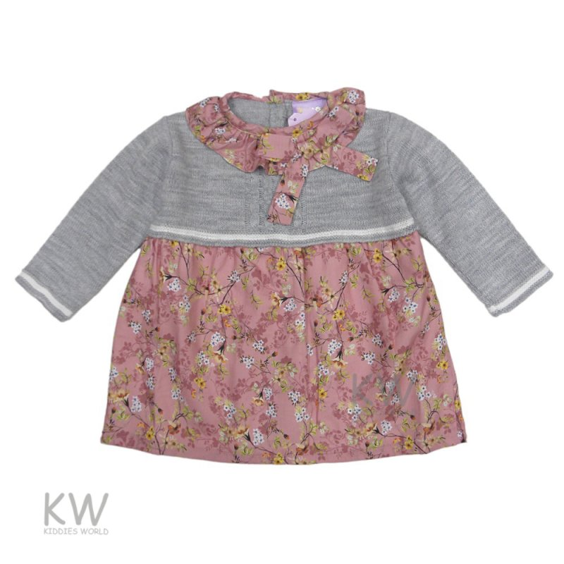 3002: Baby Girls Flowers Lined Knitted Dress (6-24 Months)
