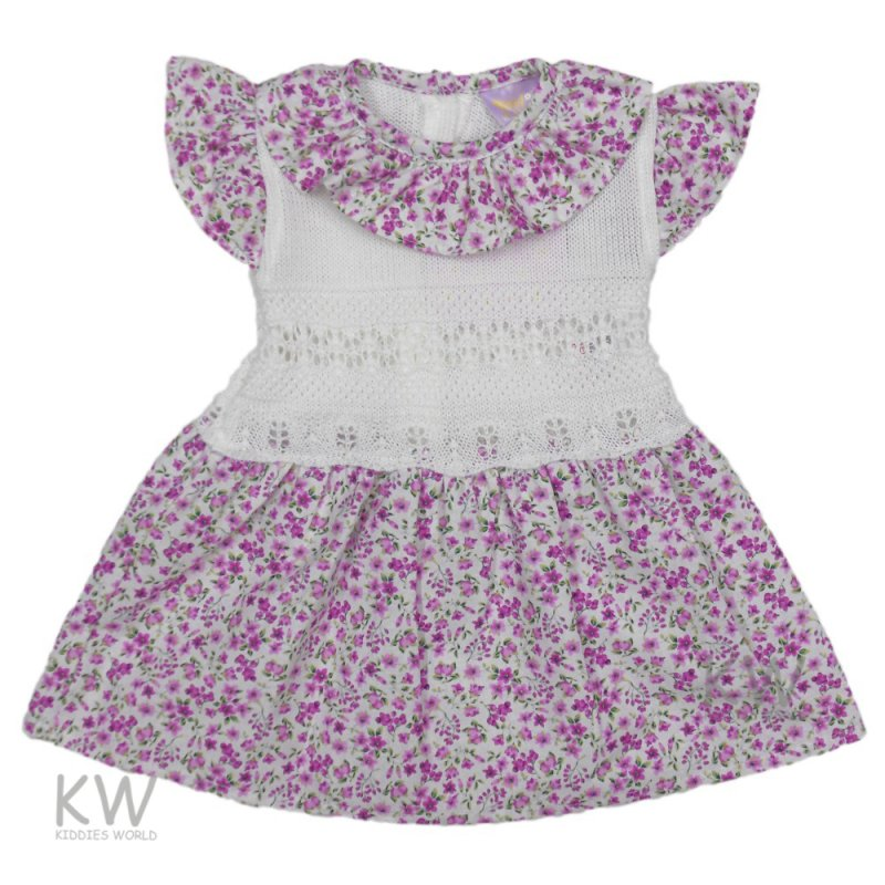 3003: Baby Girls Floral Knitted Dress (0-9 Months)