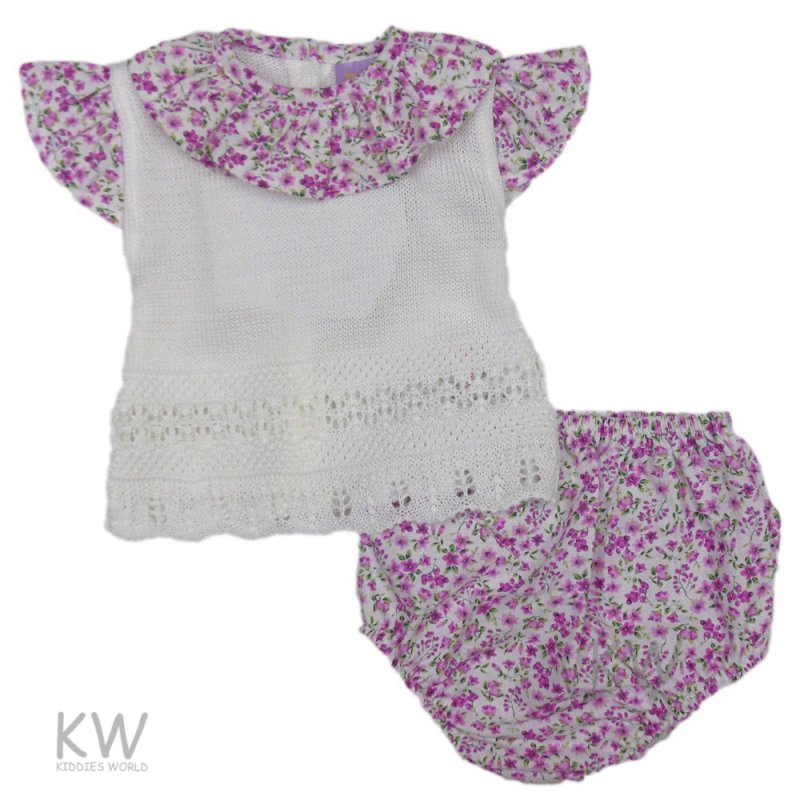 3004: Baby Girls Floral Knitted 2 Piece Set (0-9 Months)