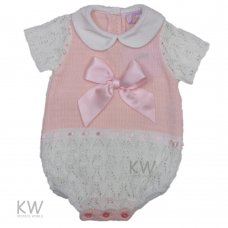 3005: Baby Girls Bow Knitted Romper (0-9 Months)