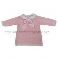 3011: Baby Girls Bow & Lace Knitted Dress (0-9 Months)