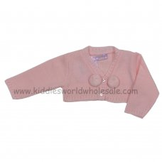 MC3022APINK: Baby Girls Pink Pom Pom Bolero Cardigan (0-9 Months)