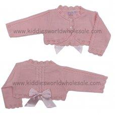 MC3023APINK: Baby Girls Pink Bow Bolero Cardigan (0-9 Months)