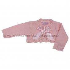 MC3024APINK: Baby Girls Pink Bow Bolero Cardigan (0-9 Months)