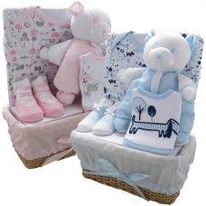 3181PB: Blue 5 Piece Luxury Basket Gift Set (0-3 Months)